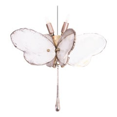 Butterfly Hanging Lamp Silvered Glass Hand Cast Body Crystal Handmade