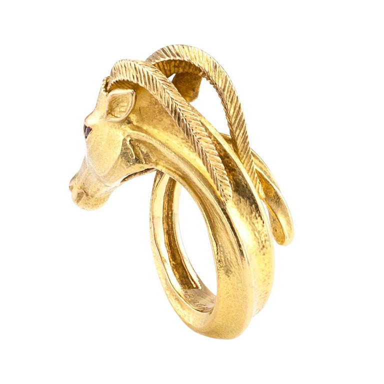 Marquise Cut Bvlgari Gazelle Figural Gold Ring For Sale