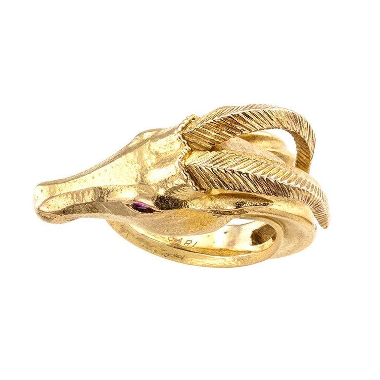 Women's or Men's Bvlgari Gazelle Figural Gold Ring For Sale