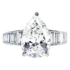 Bvlgari GIA Certified 3.05 Carat H VS2 Pear Shape Diamond Platinum Ring