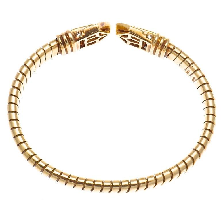 Contemporary Bvlgari Tubogas Diamond Gold Bracelet, circa 1960s