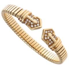 Bvlgari Tubogas Diamond Gold Bracelet, circa 1960s