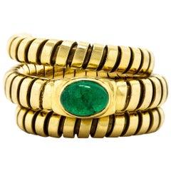Bvlgari Tubogas Emerald Gold Ring