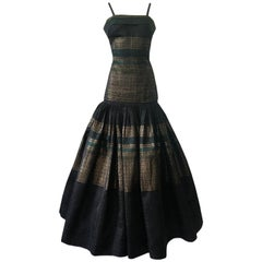 c 1945 Adrian Original Couture Black & Metallic Gold Silk Skirt & Top Dress Set