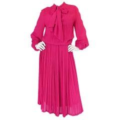 c 1976 Louis Feraud Haute Couture Bright Pink SIlk Day Dress