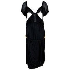 C. 2003 Yves Saint Laurent Tom Ford Black Cut-Out Ruffles Low Back Dress