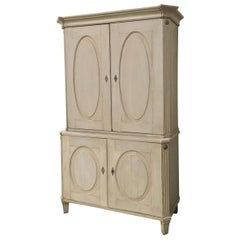 Cabinet, Antique Swedish Two-Tiered with Painted Finish