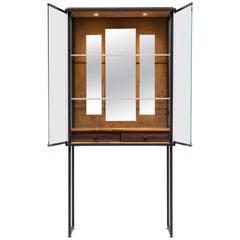 GHYCZY Cabinet Biri C04, Ristretto Frame, Tiles Brass Matt, Brass Gloss & Brass