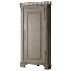 Cabinet Corner Swedish Gustavian Greenish Gray Carvings Sweden