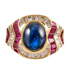 Cabochon Sapphire, Ruby and Diamond Ring