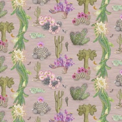 Cactus Mexicanos in Blush Botanical Wallpaper