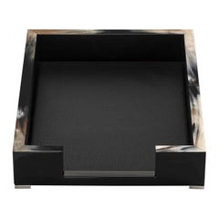 Calipso A4 Letter Tray in Horn, Glossy Black Lacquered Wood, Leather, Mod 5303s