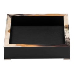 Calipso Catch-All Tray in Black Lacquered Wood with Dark Horn Inlays, Mod. 5307s