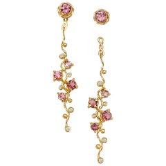 Calliope Pink Spinel and Diamond Twist Vine Detachable Earrings 18 Karat