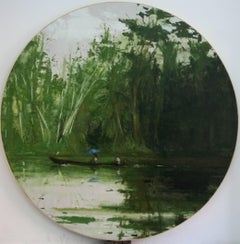 Sailing from Leticia to Santa Rosa, Jungle series (Large Tondo Painting)