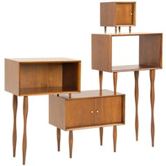 Carioca Brazilian Contemporary Wood Bookcase and Cabinet by Lattoog
