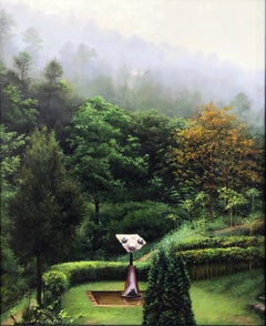 Gallifa Muse, Lush Green Spanish Landscape with Miro Sculpture, Oil on Panel