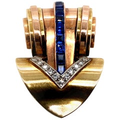 Cartier 14 Karat Two-Tone Gold Sapphire and Diamond Clip