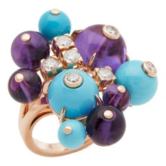 Cartier 18 Karat Rose Gold Amethyst, Turquoise and Diamond Délices de Goa Ring