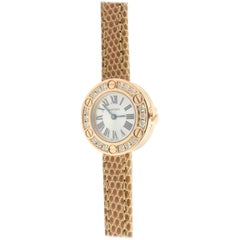 Cartier 18 Karat Rose Gold Diamond Love Watch Quartz Silver Roman Dial with Box