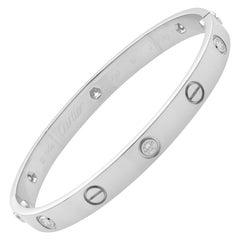 Cartier 18 Karat White Gold 6 Diamond Love Bracelet with Screwdriver