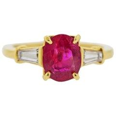 Cartier AGL 1.58 Carat No Heat Ruby Diamond Gold Ring