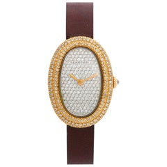 Cartier Baignoire 18 Karat Gold Pavé Diamond Watch, Manual, 18 Karat Yellow gold