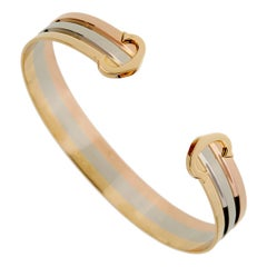 Cartier C De White Yellow Rose Gold Cuff Bracelet