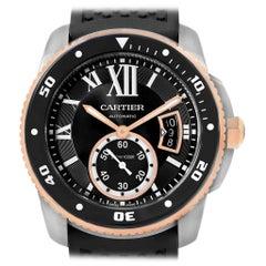 Cartier Calibre Diver Steel Rose Gold Rubber Strap Men's Watch W7100055