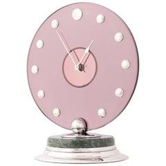 Cartier Circular Silver Pink Glass Marble Art Deco Clock, circa 1935