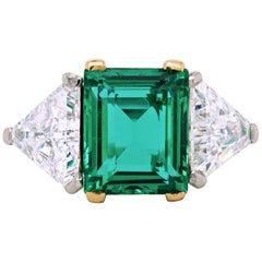 Cartier Colombian No-Oil Emerald and Diamond Ring, circa 1930s