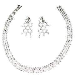 Cartier Diamond 18 Karat Gold Perles De Diamants Pierce Choker Necklace Set