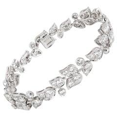 Cartier Diamond Floral Bracelet in 18 Karat White Gold '7.50 Carat'
