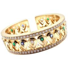 Cartier Diamond Sapphire Emerald Yellow Gold Cuff Bangle Bracelet