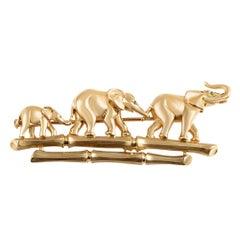 Cartier Emerald 18 Karat Yellow Gold Elephant Family Brooch