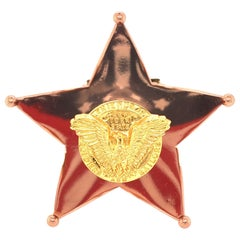 Cartier Enamel and Gilt Metal Stars and Stripes Brooch