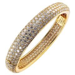 Cartier Etincelle Diamond Pave Yellow Gold Hinged Bangle Bracelet