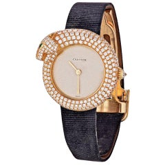 Cartier Gold Panther Diamond Emerald Pave Leather Strap 2309 Watch