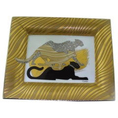 Cartier Gold-Toned Three Panther Porcelain Ashtray