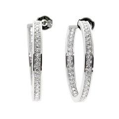 Cartier Hoop Diamond White Gold Earrings