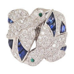 Cartier Les Oiseaux Liberes Gold Diamond Sapphire Emerald Ring