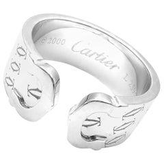 Cartier Logo Double C-Motif Monogram White Gold Band Ring