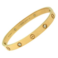 Cartier Love Bracelet 4 Diamonds, 18 Karat Rose Gold, Certified 'C-334'
