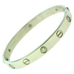 Cartier Love Bracelet in 18 Karat White Gold, 6 Diamonds