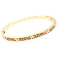 Cartier Love Pave Diamond Small Model Rose Gold Bangle Bracelet
