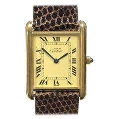 Cartier Must de Cartier Classic Vermeil Quartz Tank Wristwatch