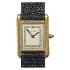Cartier Must De Cartier Ladies Vermeil Classic Quartz Tank Wristwatch