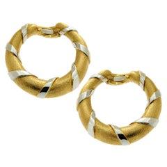 Cartier Paris Gold Hoop Two-Tone Earrings