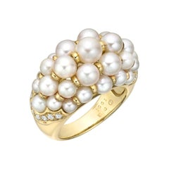 Cartier Pearl and Diamond Domed Cocktail Ring