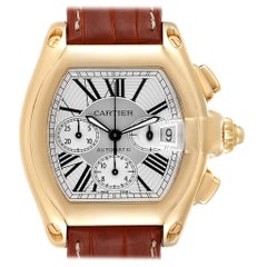 Cartier Roadster Brown Strap Yellow Gold Chronograph Men's Watch W62021Y3